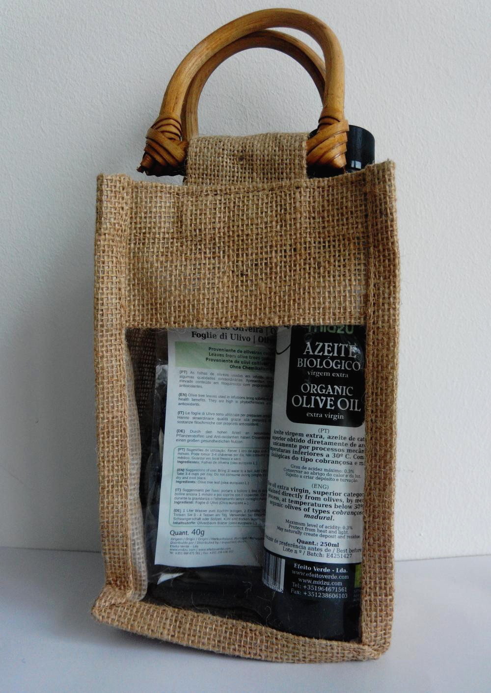 Midzu olive oil and olive leaf tea in juta bag