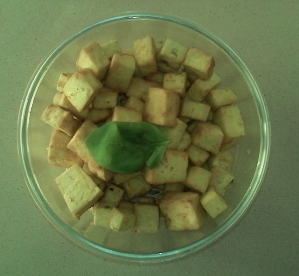 Fried tofu in hot air fryer