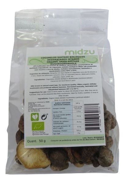 Organic dried whole shiitake mushrooms Midzu 50 g