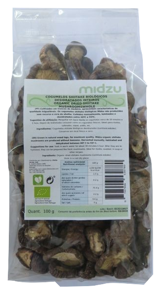 Organic dried whole shiitake mushrooms Midzu 100 g